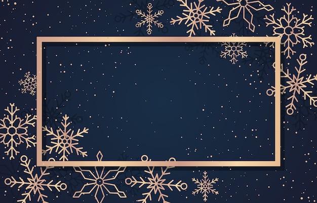 Modelo de plano de fundo do cartão de natal de feliz ano novo para flocos de neve Vetor Premium