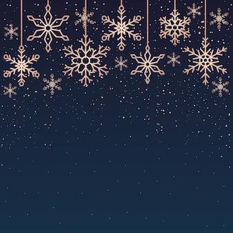 Modelo de plano de fundo do cartão de natal de feliz ano novo para flocos de neve