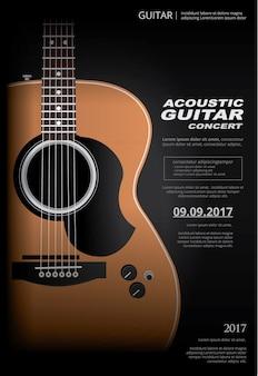 Modelo de plano de fundo do cartaz de concerto de guitarra acústica