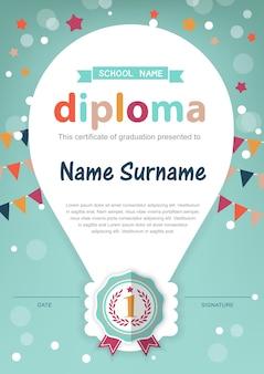 Modelo de plano de fundo do certificado de diploma de crianças pré-escolares
