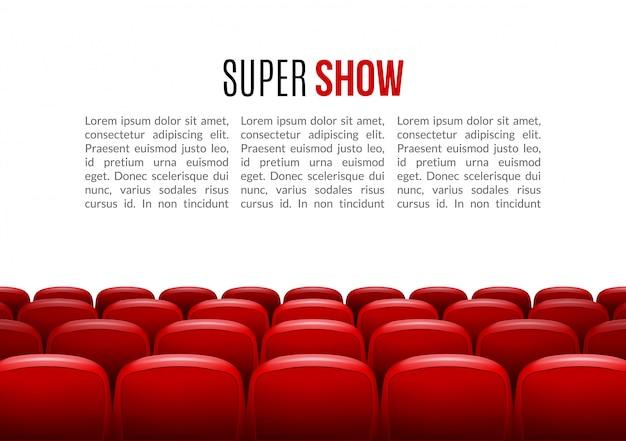Modelo de plano de fundo do cinema com linha de assentos vermelhos
