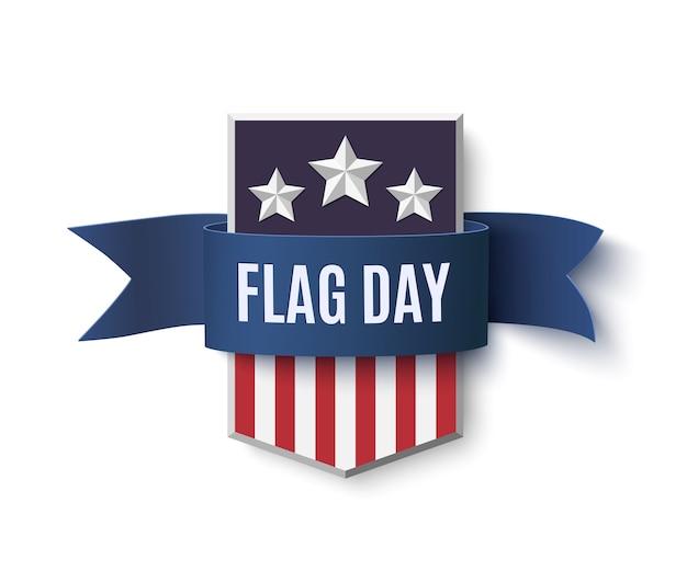 Modelo de plano de fundo do dia da bandeira. crachá com azul sobre branco. ilustração.