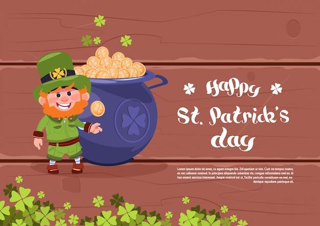 Modelo de plano de fundo do dia feliz st. patricks holiday ou cartão leprechaun homem sobre o grande pote com moedas de ouro