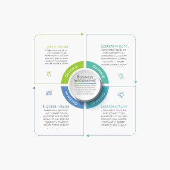 Modelo de plano de fundo do infográfico de círculo de negócios