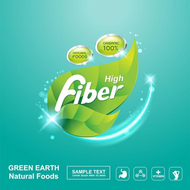 Modelo de plano de fundo do logotipo de fibra em alimentos orgânicos