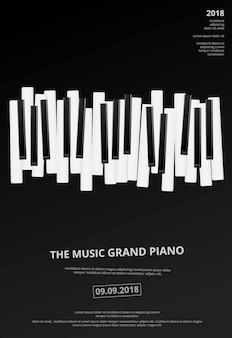 Modelo de plano de fundo do piano de cauda de música modelo vector