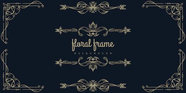 Modelo de plano de fundo do quadro floral ouro premium