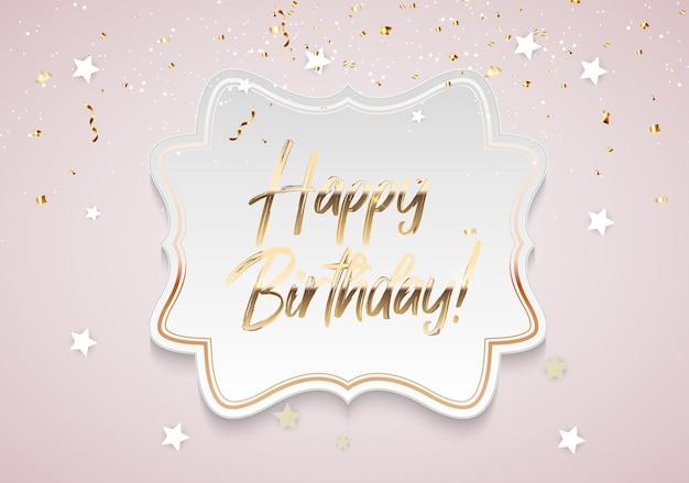 Modelo de plano de fundo dourado brilhante feliz aniversário com confete e moldura