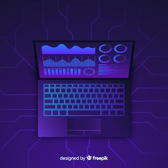 Modelo de plano de fundo escuro laptop vista superior