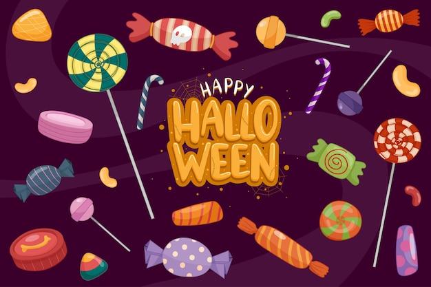 Modelo de plano de fundo feliz dia das bruxas na escuridão com o ícone halloween Vetor grátis