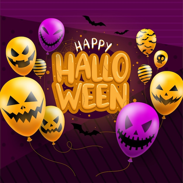 Modelo de plano de fundo feliz halloween escuro com ícones de balões de cara do diabo