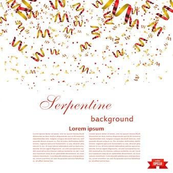 Modelo de plano de fundo festivo com serpentina vermelha brilhante. festival. ilustração vetorial