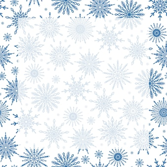 Modelo de plano de fundo fofo e festivo da temporada de inverno com flocos de neve e espaço de cópia