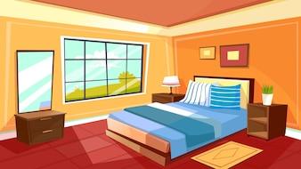 Modelo de plano de fundo interior quarto dos desenhos animados. Aconchegante casa moderna sala na luz da manhã