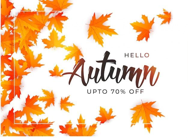 Modelo de plano de fundo lindo folhas de outono
