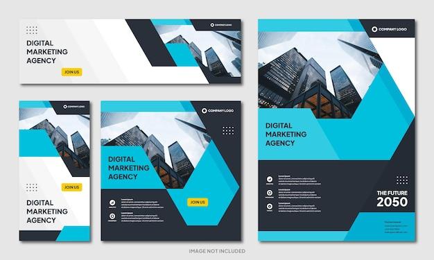 Modelo de plano de fundo moderno criativo de brochura corporativa e pós-banner de mídia social