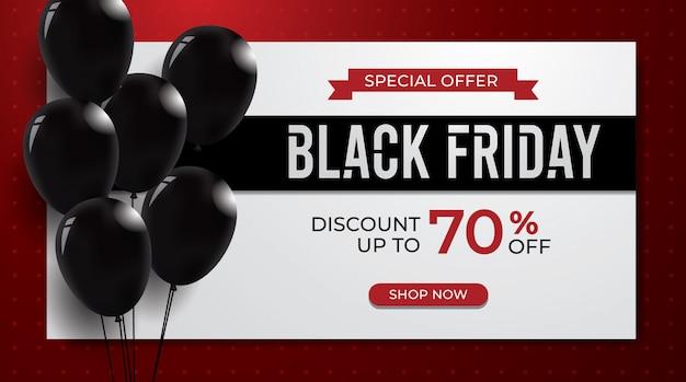 Modelo de plano de fundo preto venda sexta-feira com balões