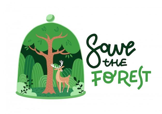 Modelo de plano de fundo verde floresta natureza eco. floresta decídua com um cervo em forma de cúpula de vidro. plante dentro da redoma de vidro. salve a floresta letras conceito de idéia criativa de ecologia. ilustração plana.