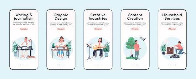 Modelo de plano de tela de aplicativo móvel de integração de atividades criativas. artesanato e passatempo. etapas do site passo a passo com caracteres isolados em branco. ux, iu, interface de desenho animado de smartphone gui