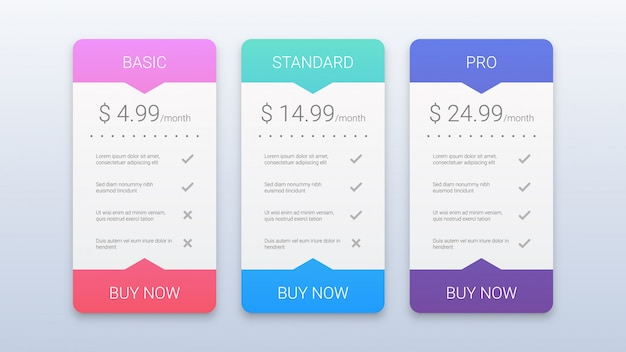 Modelo de planos de preços coloridos modernos