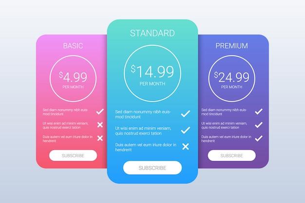 Modelo de planos de preços coloridos