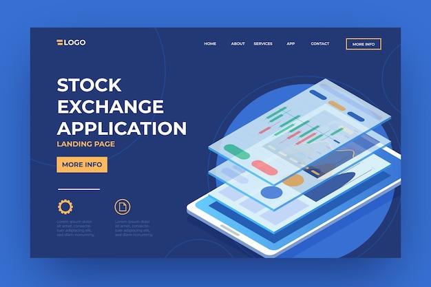 Modelo de plataforma da bolsa de valores da página de destino