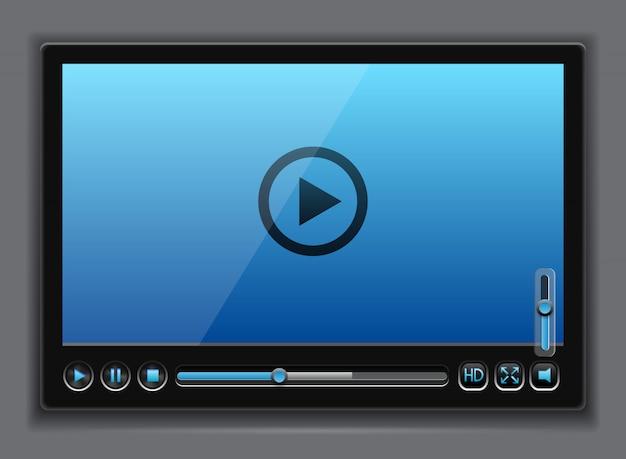Modelo de player de vídeo brilhante azul