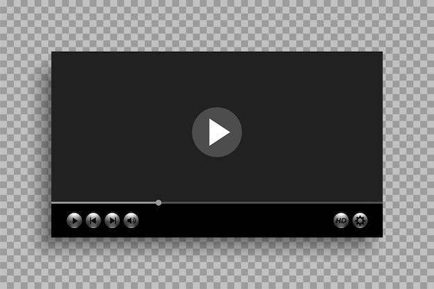 Modelo de player de vídeo com design de botões brilhantes