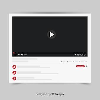 Modelo de player de vídeo do youtube vetorizado