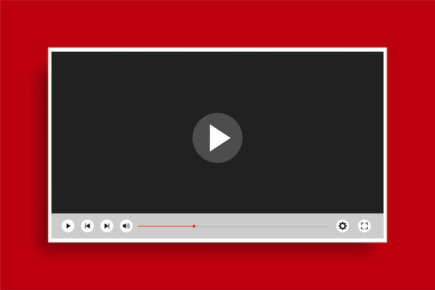 Modelo de player de vídeo moderno e simples de estilo simples