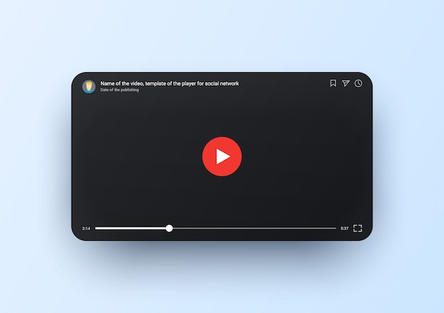 Modelo de player de vídeo para tela móvel, preta com botão redondo vermelho e linha do tempo. janela do tubo online. leitor de vídeo para smartphone