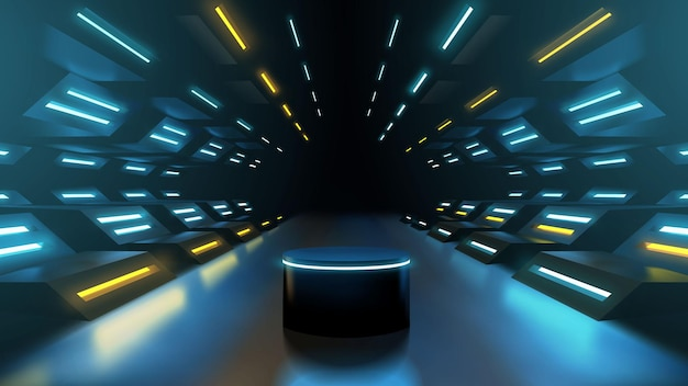 Modelo de pódio de corredor de néon futurista