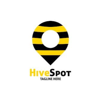 Modelo de ponto de design de logotipo de local de abelha de colmeia