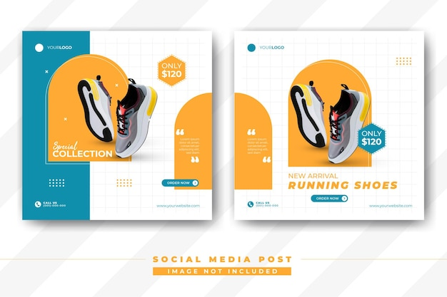 Modelo de pós-banner de mídia social de sapatos modernos sapatos