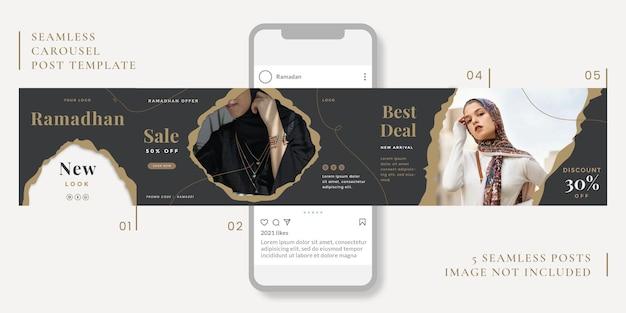 Modelo de post de carrossel sem costura com tema ramadã para mídias sociais.