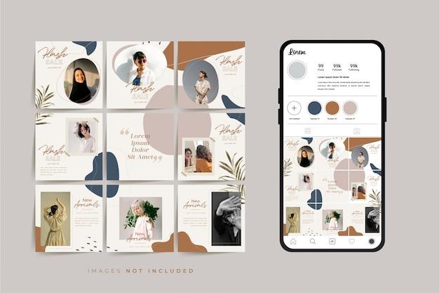 Modelo de post de grade de quadro de quebra-cabeça de mídia social para promoção de venda de moda