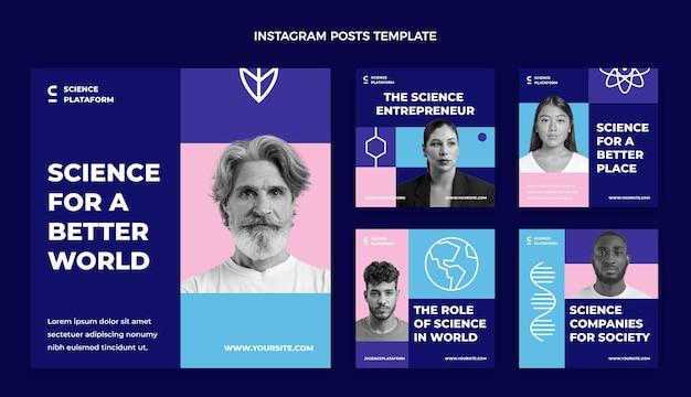 Modelo de post de instagram de ciência plana