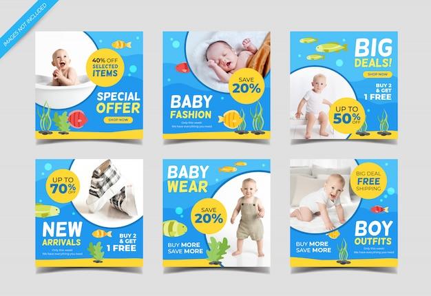 Modelo de post de venda de moda bebê com ilustração de animais do mar