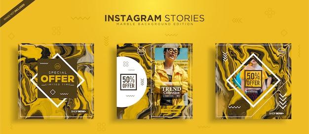 Modelo de post do instagram com textura de mármore abstrata
