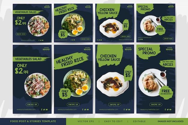 Modelo de post e histórias de mídia social de alimentos