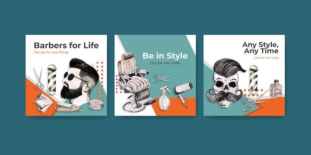 Modelo de post quadrado com design de conceito de barbeiro.