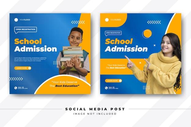 Modelo de postagem de admissão escolar para mídia social