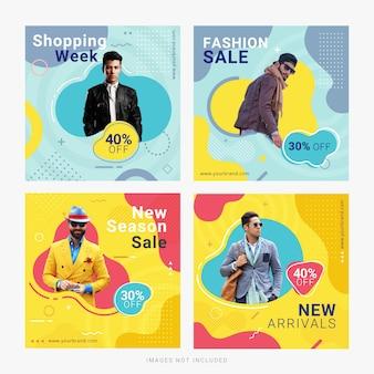 Modelo de postagem de anúncio de banner de mídia social de venda de moda
