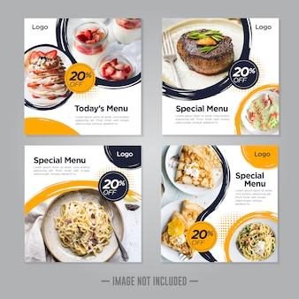 Modelo de postagem de banner de comida de restaurante