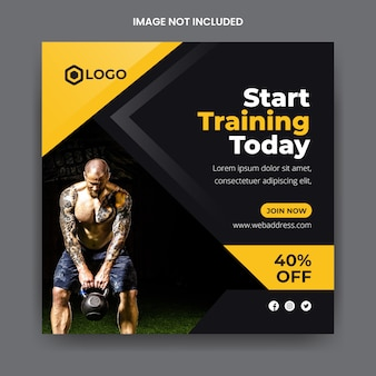 Modelo de postagem de banner de mídia social de ginásio e fitness