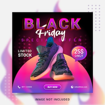 Modelo de postagem de banner de mídia social de preto moderno e criativo de vendas dinâmicas