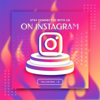 Modelo de postagem de banner de mídia social de promoção do instagram estilo de renderização em 3d