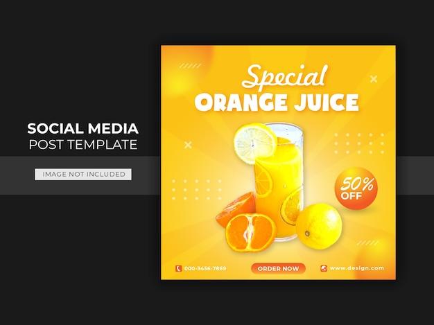 Modelo de postagem de banner em mídia social para bebidas de laranja