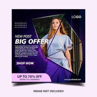 Modelo de postagem de banner instagram de moda