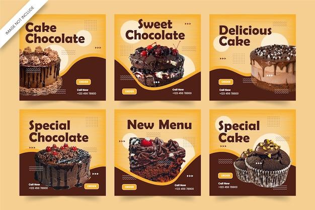 Modelo de postagem de bolo delicioso em mídia social